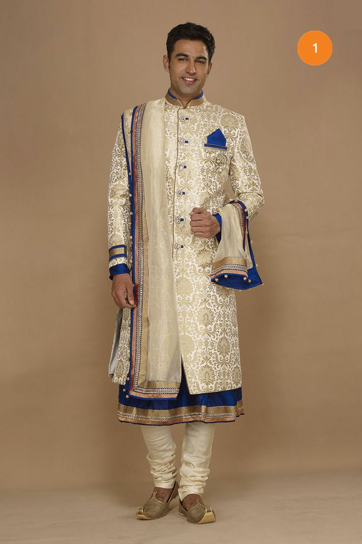 Exquisite detail in this velvet embellished sherwani by cuckoo