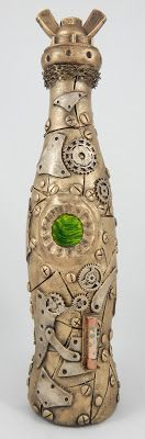 Whimsytouches: Steampunk Altered Bottle