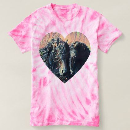 Friesian horse stallion/mare black beauty/heart t-shirt - black gifts unique cool diy customize personalize