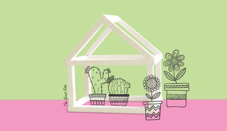 diy domek z listewek dla kaktusów, minimalistyczne dekoracje, zrób to sam