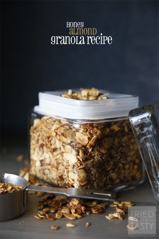 Honey Almond Granola Recipe // Already it's proven to be so handy for me to just grab as I'm headed out the door to work. Really though, if you are looking for a keeper granola recipe look no farther. This is the recipe for you. | Tried and Tasty