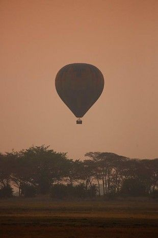 Silently viewing game from a hot air balloon, Shumba Camp Zambia