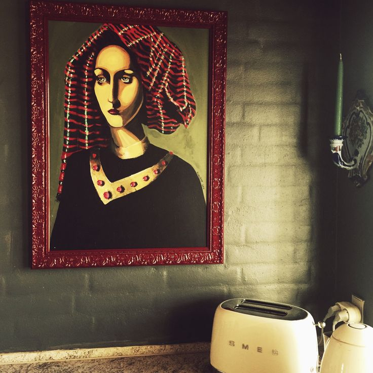 My bleary eyed woman painting is perhaps aptly placed in the kitchen by the kettle! #kitchen #smeg