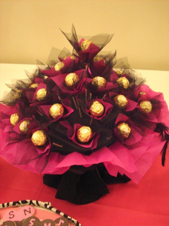 Pink and black chocolate bouquet.