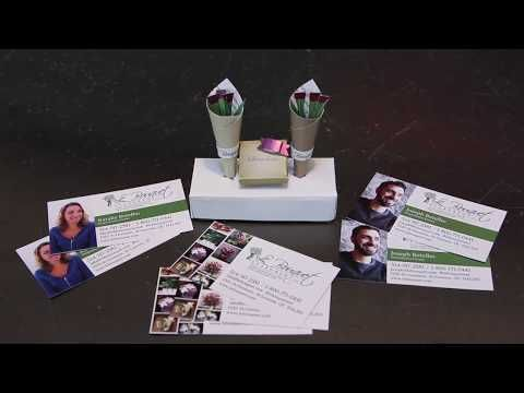 Clever business cards you can fold into a bouquet of flowers or a box of mini cholocates - YouTube