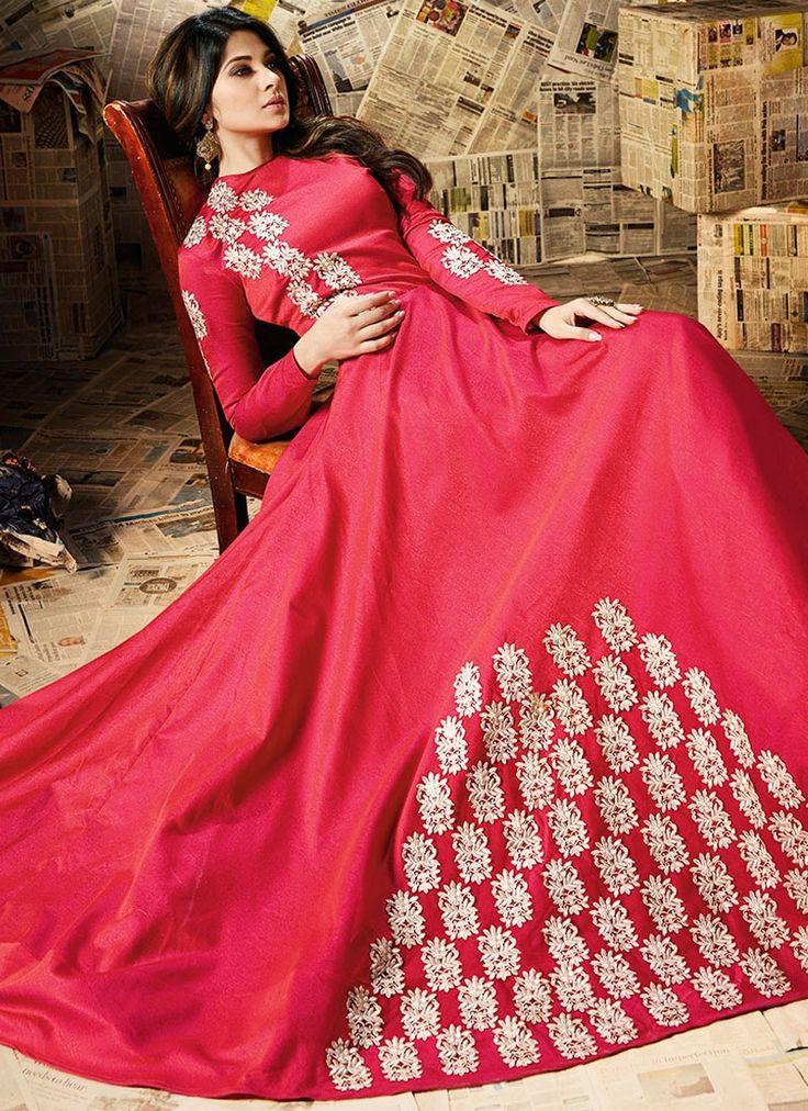 Buy Delightful Jennifer Winget Art Silk Resham Work Floor Length Anarkali Suit  #salwarkameez #anarkalisuits #womensuits #anarkalifashion #salwarkameezsale #glamor #glamorous