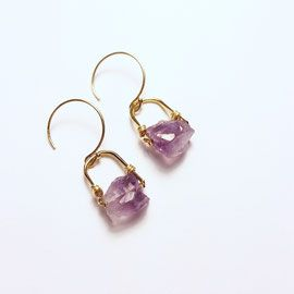 Petit Raw Amethyst Drop Earrings  14k gold fill  TOODLEBUNNY Designs - Handmade Jewelry Vancouver BC