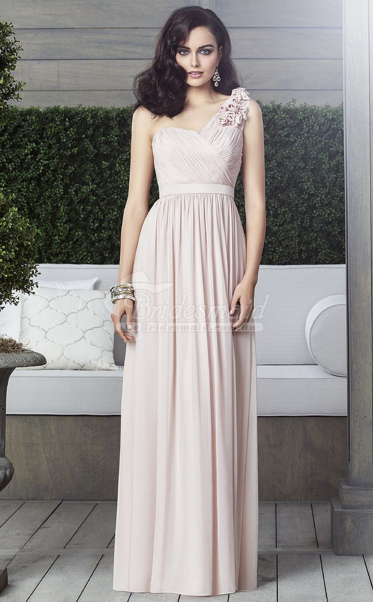 26 best pink bridesmaid dresses images on pinterest bridal gowns nude chiffon one shoulder long bridesmaid dresspink bridesmaid dresses ombrellifo Image collections