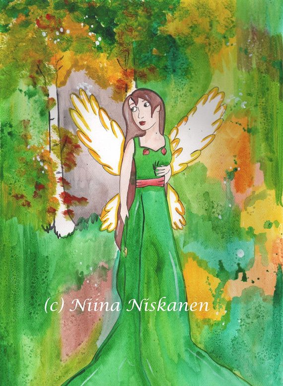 Original Angel Art Autumn Angel Painting Watercolor Angel Original Art Wall Art Spiritual Art Autumn Fall Angel Art for Home