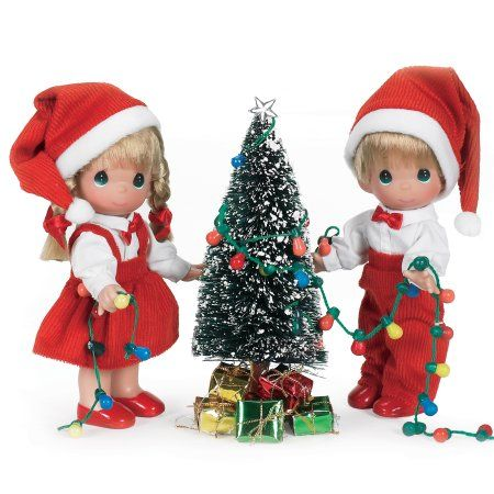 Precious Moments Dolls by The Doll Maker, Linda Rick, Set of Dolls, You Light Up My Life Christmas Set, 7 inch doll