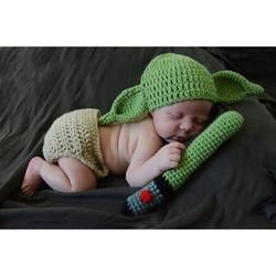Star Wars Master YODA Style Knitted Baby Beanies and Diaper Pants + Prop - Baby Swift