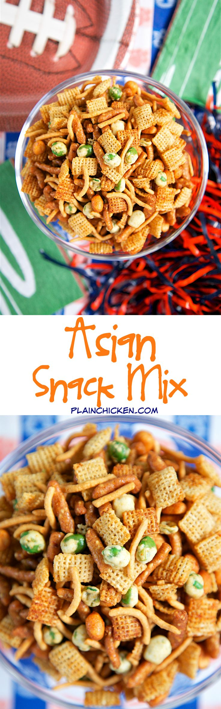 Asian Snack Mix - rice chex, sesame sticks, wasabi peas, chow mein noodles, honey roasted peanuts tossed in butter, soy sauce, ginger, garlic and cayenne - this stuff is crazy addictive! Can make ahead of time - it keeps for a week. Always the first thing to go at parties! Everyone asks for the recipe!