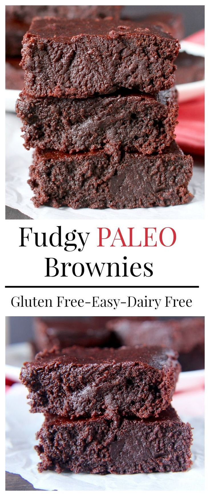 Fudgy Paleo Brownies- the BEST paleo brownies! No one will know they're healthy! Gluten free, dairy free, nut free and so delicious!! (contains egg)