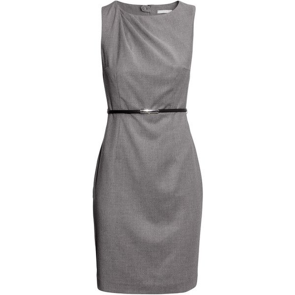 H&M Figure-fit dress (£12) ❤ liked on Polyvore featuring dresses, vestidos, short dresses, платья, grey, knee high dresses, line dress, draped mini dress, short grey dress and h&m