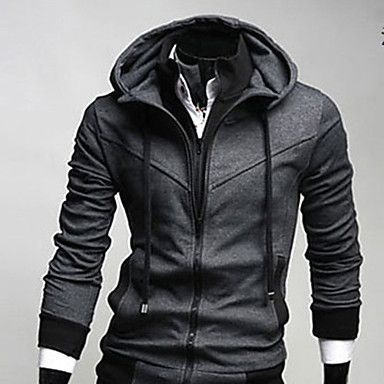 Miesten Korean tyyli Casual Cotton Zipper hupparit - USD $ 43.99