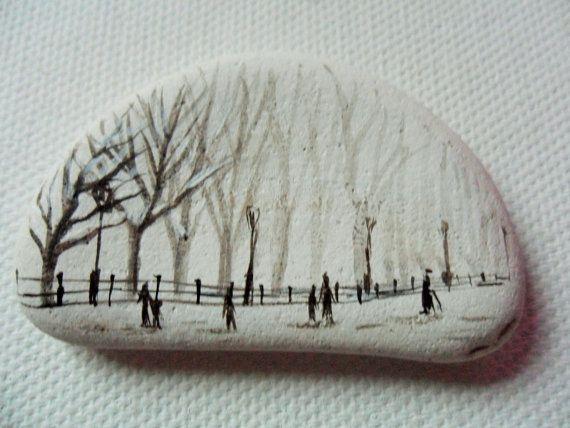 Nieve en Central park Nueva York - acrílico miniatura pintura sobre vidrio de mar de cerámica mar inglés