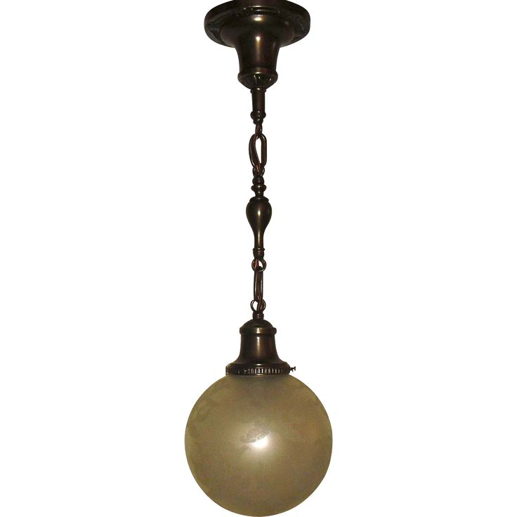 Victorian Pendant Light - Deep Etched Ball Shade on Decorated Brass Fixture. Fixture is rewired. Both fixture and glass shade are in good condition. Circa 1910.