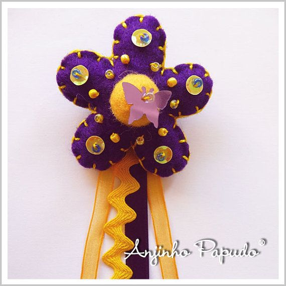 Violet and Yellow Flower brooch by anjinhopapudoshop.