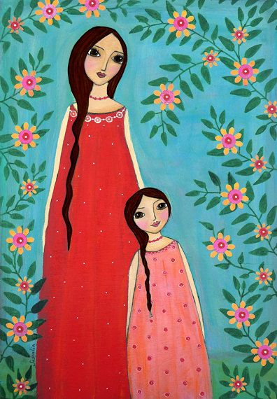 Mother and Child Painting Art Print Mounted on Wood, Brown Hair Mother and Child Painting