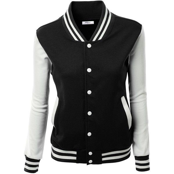 Meaneor Women's Slim Fit Baseball Bomber Club Varsity Jacket Coat... ($89) ❤ liked on Polyvore featuring outerwear, jackets, baseball bomber jacket, bomber jackets, teddy bomber jacket, letterman jackets and baseball varsity jacket