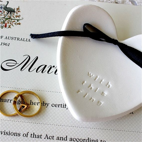 CUSTOMISED -  Wedding Ring Bearer, Keeper, Ring Pillow Alternative -  White Clay Heart Bowl Keepsake
