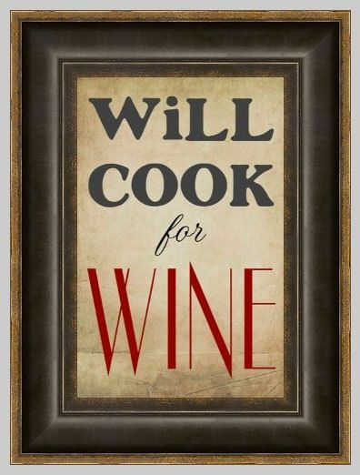 Will Cook for Wine Kitchen Art Print on Etsy, $5.00