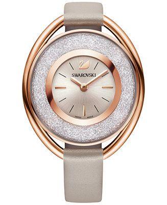Swarovski Women's Swiss Crystalline Calfskin Leather Strap Watch 37mm - Women's Watches - Jewelry & Watches - Macy's