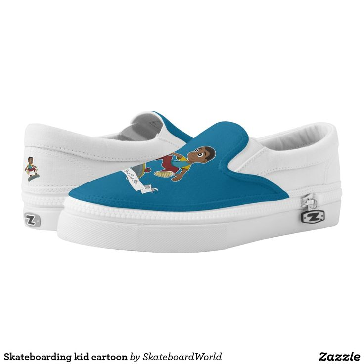Skateboarding kid cartoon printed shoes