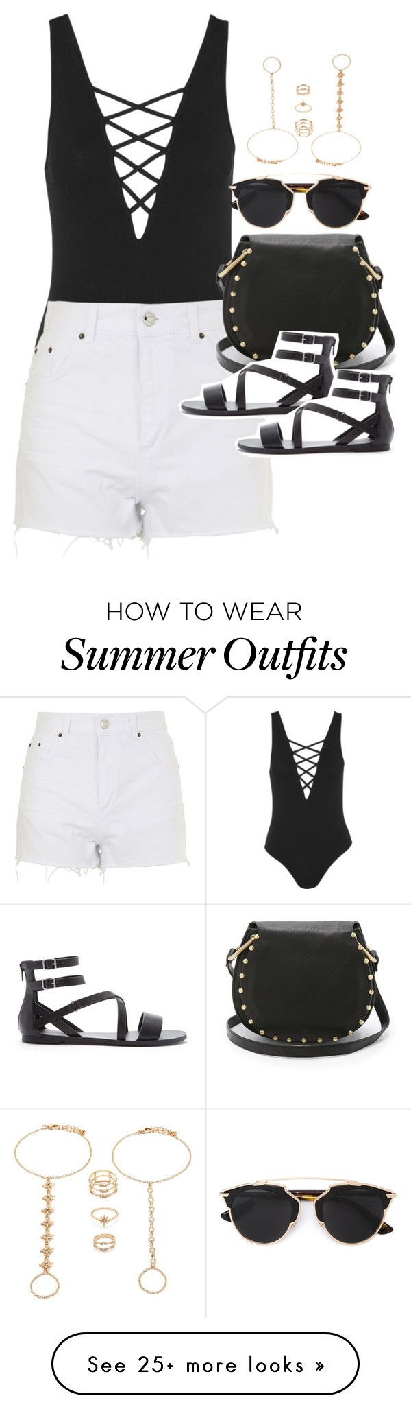 """""""Outfit for a music festival in summer"""" by ferned on Polyvore featuring Topshop, Cynthia Rowley, Forever 21 and Christian Dior"""
