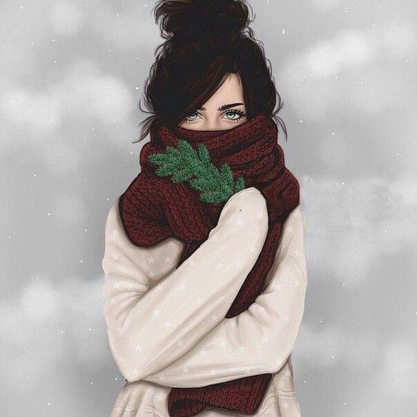 Нарисованные картинки девушек зимой
