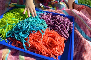 Tot Treasures: Rainbow Worms  Coloured spaghetti for tactile play