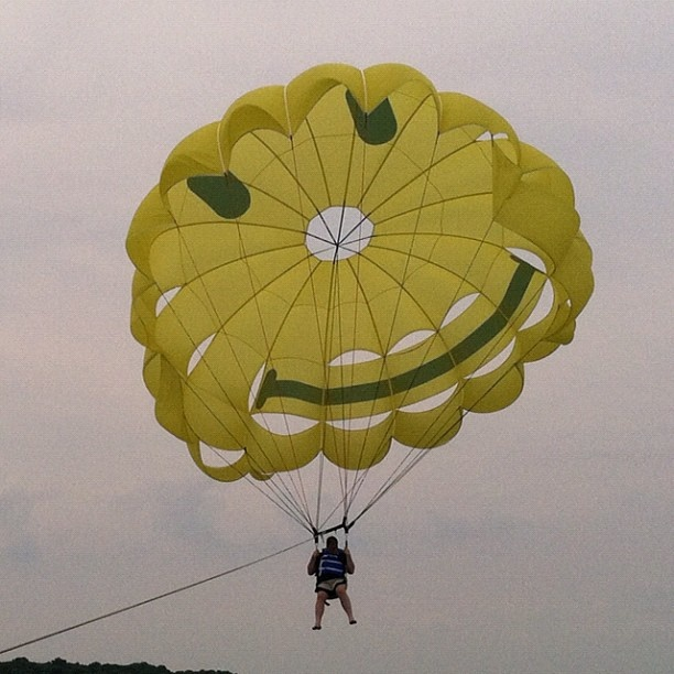 Parasail over the Bay! Put-in-Bay parasail, based on Boardwalk Dock. Photo by Patrick Shepherd.