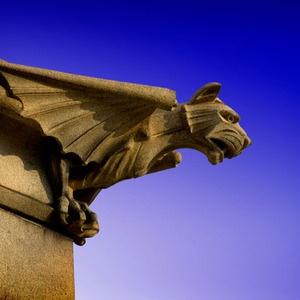 As Gárgulas são estátuas de criaturas monstruosas, às vezes assemelhadas a aves deformadas, ou morcegos gigantescos, como uma mistura de vários seres, formando uma escultura grotesca.