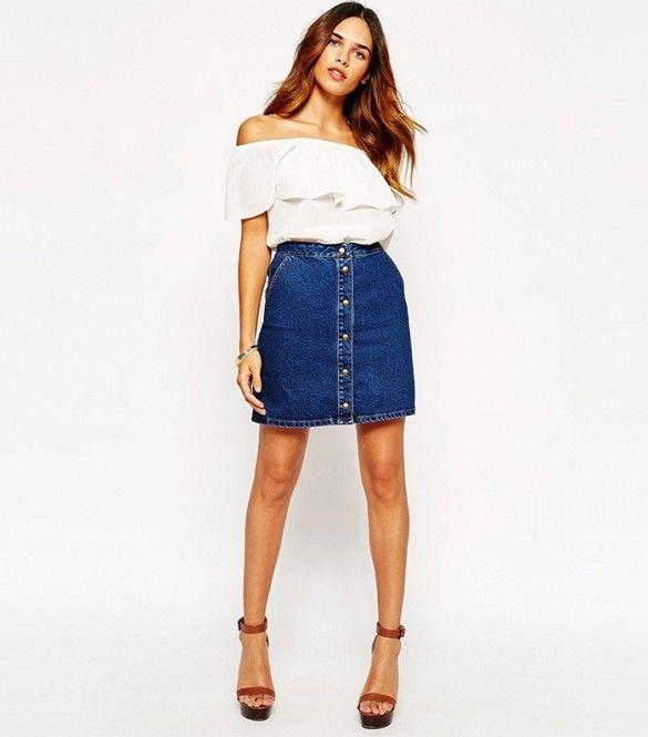 Warehouse 70's Denim Button Mini Skirt // Denim button up skirt