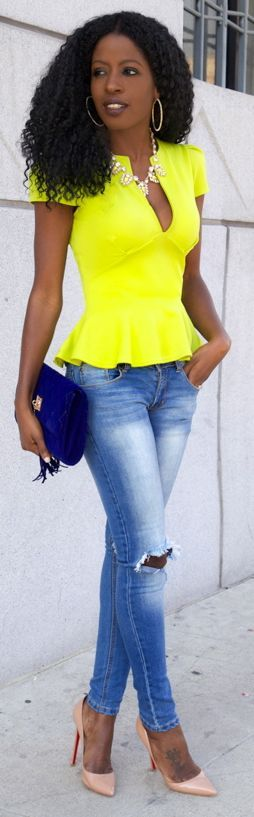 Boohoo V Neck Neon Peplum Top by Style Pantry Don't care for the shade of yellow-but cute outfit.