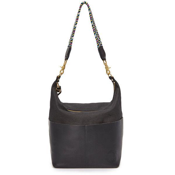 Clare V. Sophie Canvas Hobo Bag (475 AUD) ❤ liked on Polyvore featuring bags, handbags, shoulder bags, black, canvas purse, woven purses, hobo handbags, slouchy hobo handbag and zipper shoulder bag