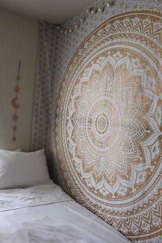 Golden Gypsy Goddess Mandala Tapestry