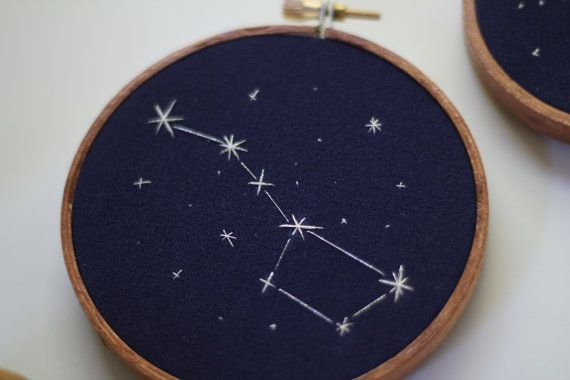 This set is comprised of the Big Dipper constellation on a 4 inch hoop, and the Little Dipper constellation on a 3 inch hoop. These hoops are