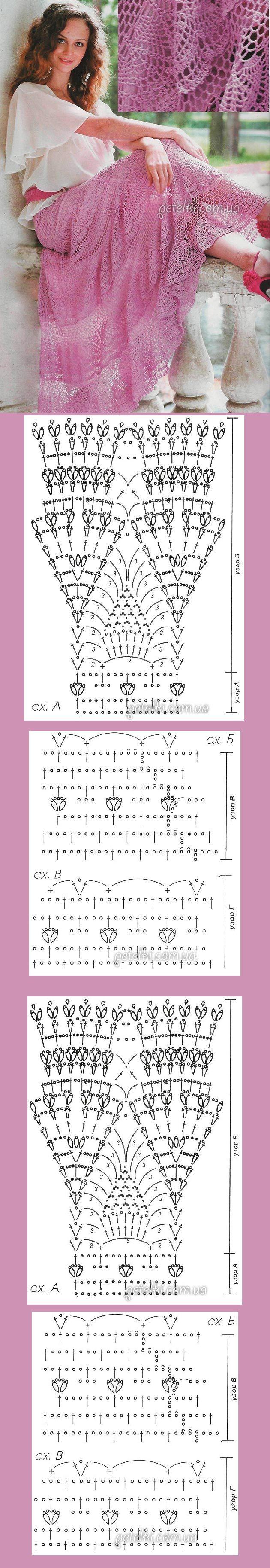 Saia longa em crochê. TAMANHO 40; 95 cm comprimento. Saia composta por 5 níveis, em círculo. O padrão B é repetido em cada camada, mas eles começam de modo diferente. 1º nível composto por 16 repetições. Começar com 256 correntes. Início padrão A, depois padrão B. A 2ª camada com base no número penúltima do 1º escalão do padrão B, continuar padrão B. São 27 repetições. Igual forma o 3º nível, que tem 40 repetições. O 4º e 5º níveis começar no padrão B. A 4ª: 50 repetições, o 5º: 63…