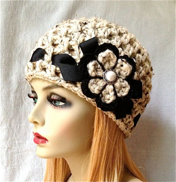 Crochet Womens Hat Beanie Oatmeal Very Soft by JadeExpressions, $38.00