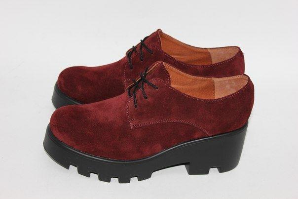 Бордовые замшевые туфли на тракторной подошве