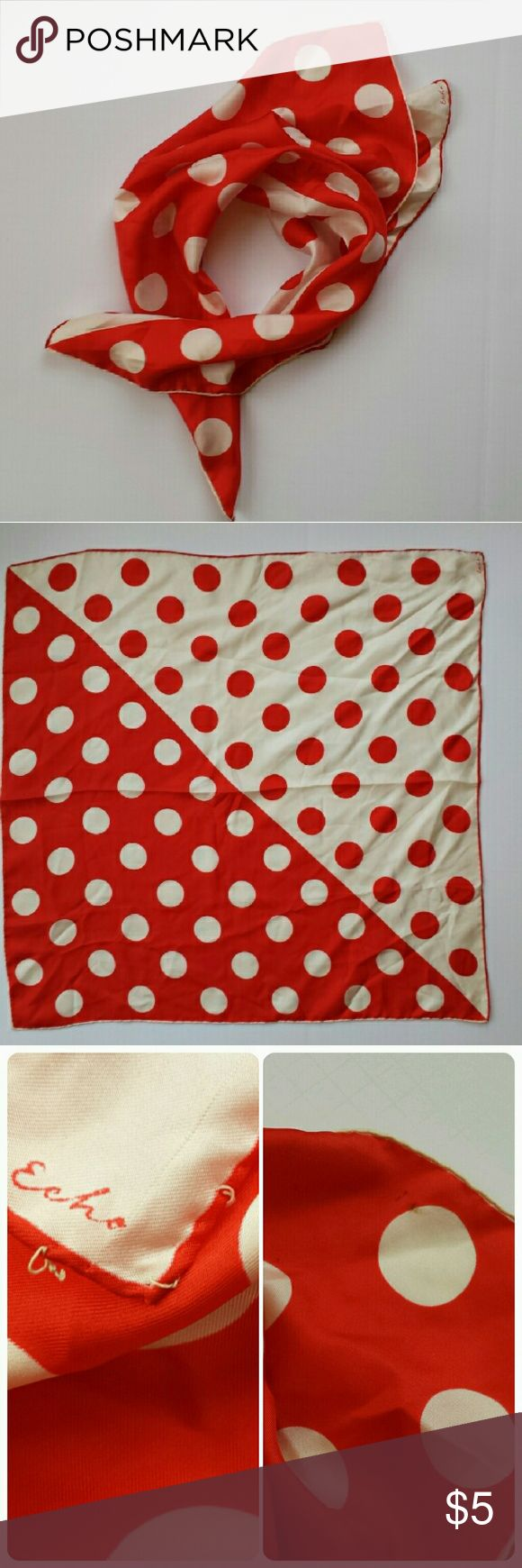 "60s Mod Vintage Echo Dot Design Scarf Red and cream (once a whiter cream) dots printed on 26"" square silk with a hand rolled hem. This cute Echo scarf from the 60s is a bargain just because it needs a little TLC. Yes, it's a bit tired. But, it's nothing that dry cleaning and a touch up to the corner hem can't cure (see last photo.) Get it now at this low price... once I restore it, I'll relist it for is true value. Echo Accessories Scarves & Wraps"