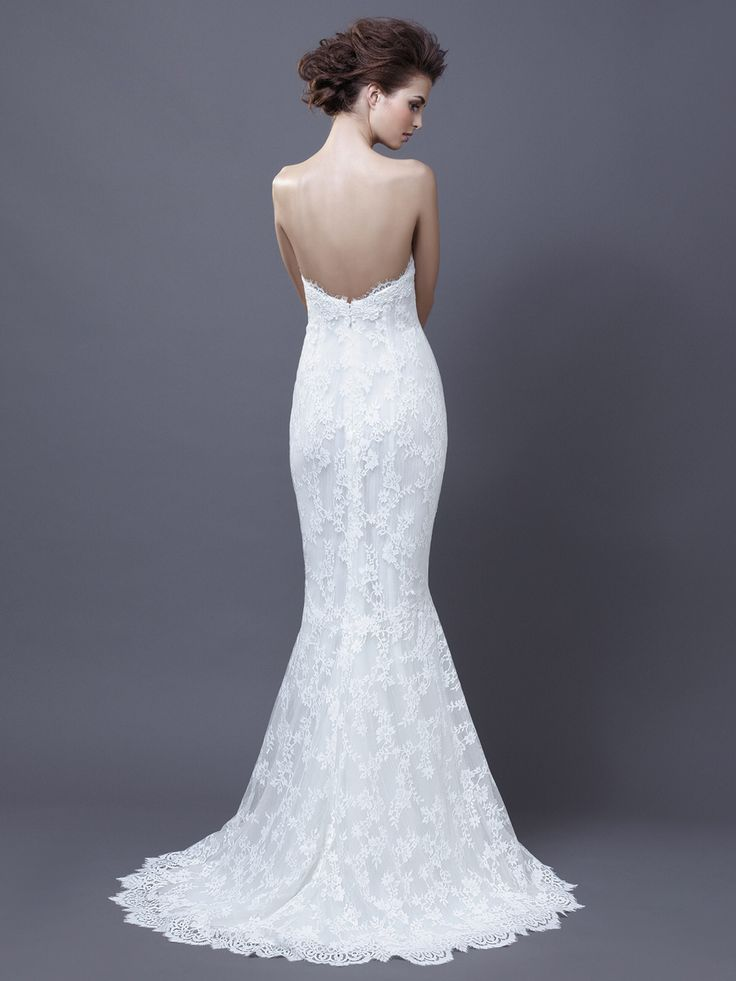 Enzoani heli sheer lace one shoulder form fitted tulle for Lace one shoulder wedding dress
