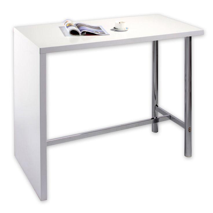 Bartisch - weiß Hochglanz - Gestell verchromt Studio Apartment - bartische für küche