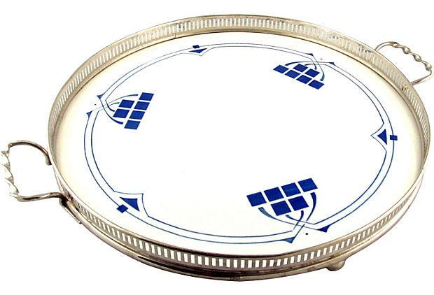 SOLD! German Jugendstil Porcelain Tray w/ Pierced Gallery