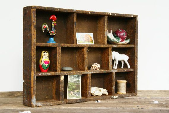 Wood Crate Curio Shelf // Divided Box by Larch Trading Company
