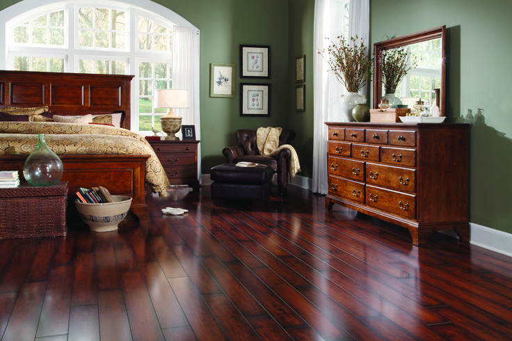 French bleed is a unique staining technique intended to give the look of an aged wood floor with a dark, contrasting edge. This Vintners Reserve is a popular choice in this style! [Distressed Textures | Flooring Trends 2015]