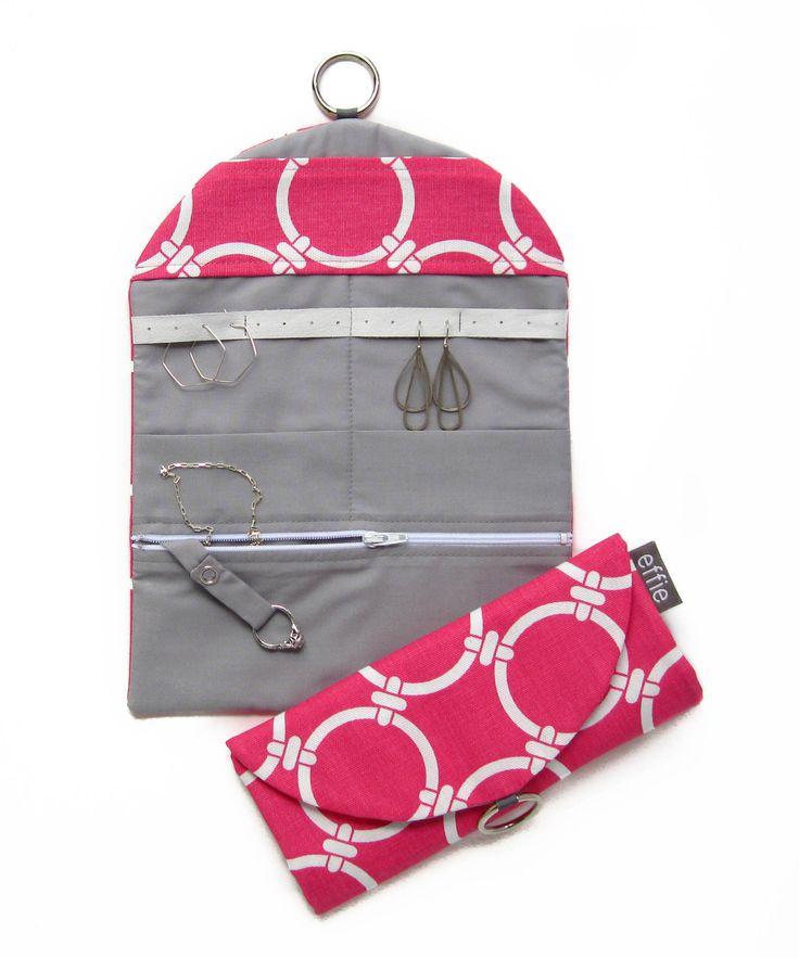 Travel Jewelry Organizer - Modern Pink Circles with Grey