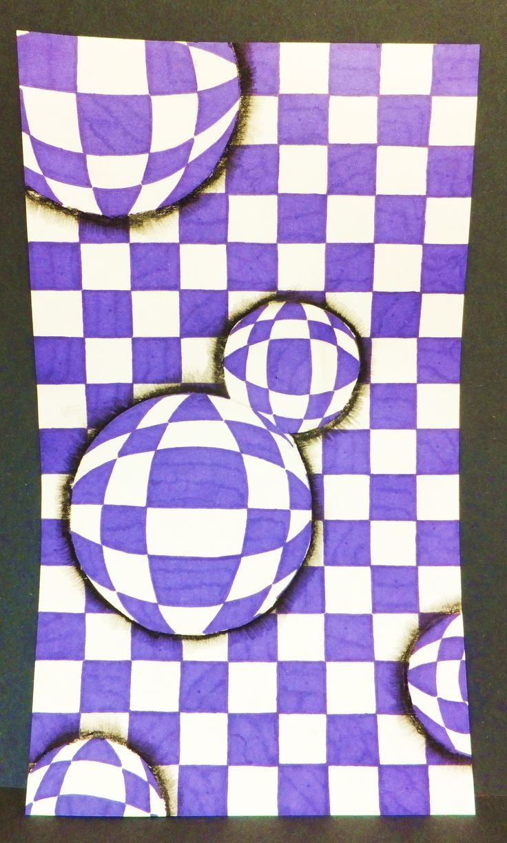 5/6 - Optical Illusion Drops  Students measured a grid, then added circles and bent the grid lines to create an illusion.  #Optical #Illusions #ShermanFinancialGroup