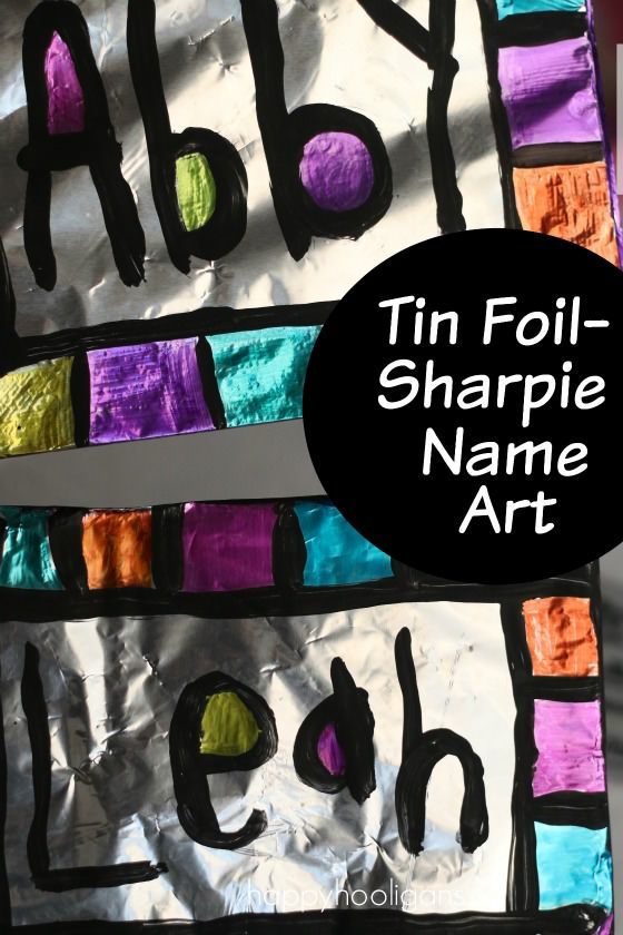 Name Art with Sharpies and Tin Foil:  Great art project for kids of all ages!  If you've never coloured on foil with Sharpies before, you must! The process is so slippery, shiny and cool!  Terrific name activity for home or art class! - Happy Hooligans